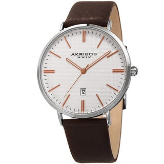Akribos XXIV Men's Quartz Easy-to-Read Date Leather Silver-Tone Strap Watch
