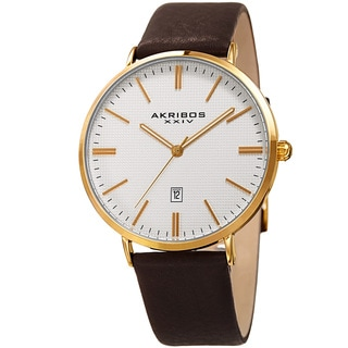 Akribos XXIV Men's Quartz Easy-to-Read Date Leather Gold-Tone Strap Watch