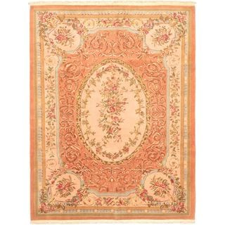 eCarpetGallery Brown Wool Hand-knotted Savonnerie Rug (8'6 x 11'4)