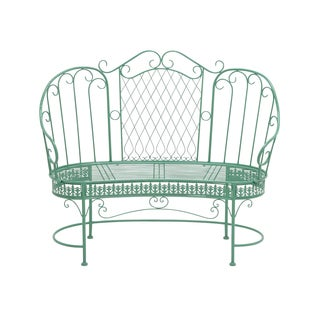 Elegant Green Metal Loveseat Chair