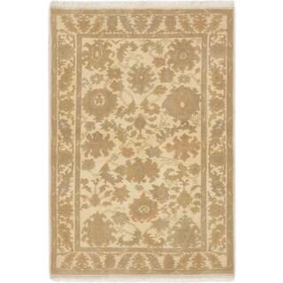 Ecarpetgallery Peshawar Oushak Ivory/Cream/Khaki Wool/Cotton Hand-Knotted Rug (4' x 5')
