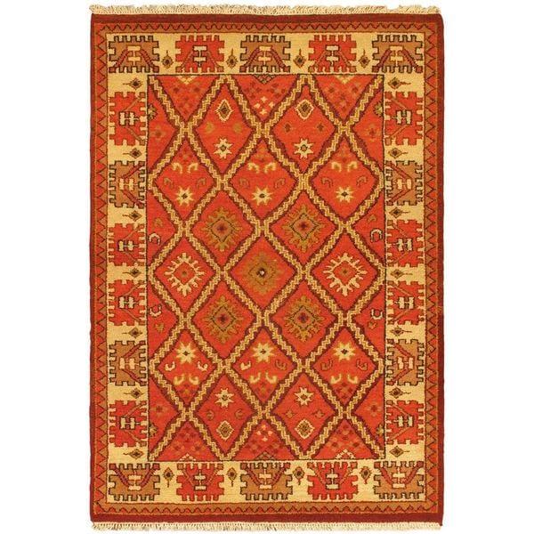 Ecarpetgallery Jaipur Rose/Black/Brown/Cream/Dark Gold Wool Hand-knotted Rug (4'5 x 6'4)