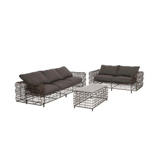 The Exceptional Brown Metal Sofa 3-piece Set