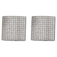Decadence Sterling Silver Micropave Men's Stud Earrings
