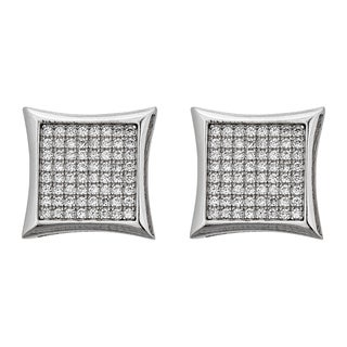 Decadence Sterling Silver Micropave Curve Square Stud Earrings