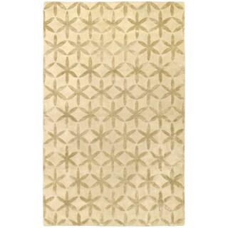 Ecarpetgallery Burst Cream/Beige Wool/Viscose/Cotton Hand-made Rug (6' x 9')