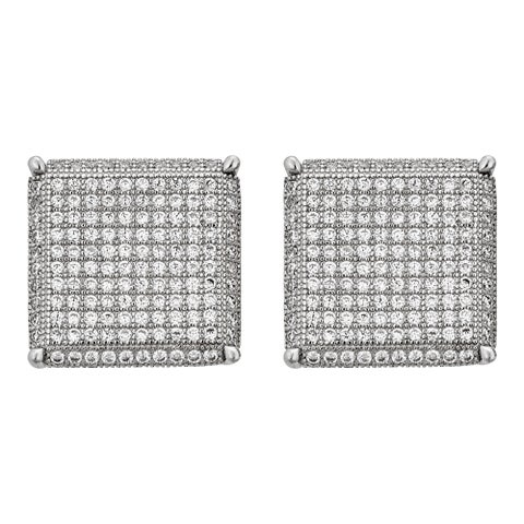 Decadence Sterling Silver Micropave Square Stud Earrings