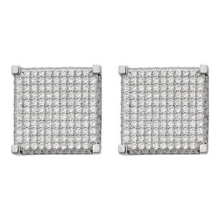 Decadence Sterling Silver Cubic Zirconia Micro Pave Square Stud Earrings