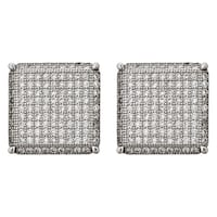 Decadence Sterling Silver Micropave Square Men's Stud Earrings