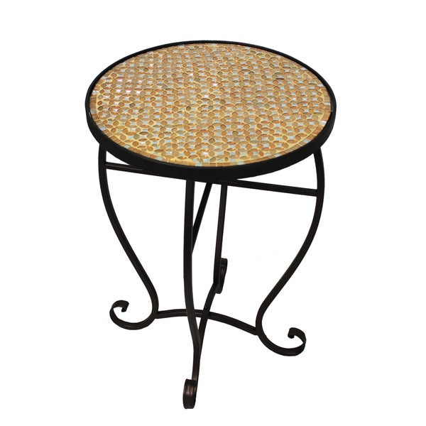 Shop Moroccan Mosaic Gold Round Side Accent Table Free