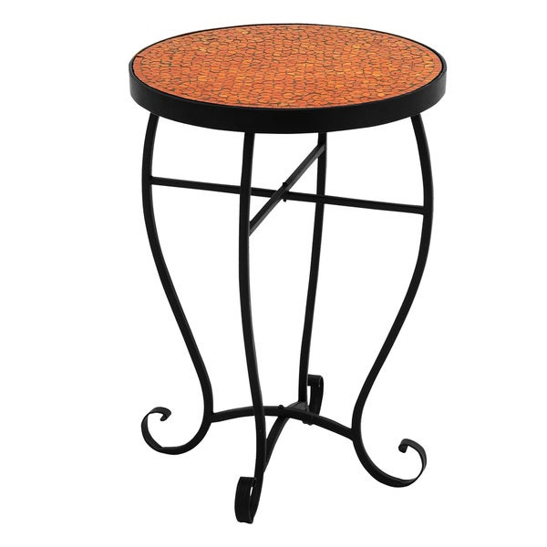 Moroccan Mosaic Orange Red Round Side Accent Table Free