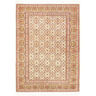 eCarpetGallery Tabriz Haj Jalili Brown/Beige/Pink/Black/Khaki/Teal/Dark Red Wool/Cotton Hand-knotted Rug (4'0 x 5'10)
