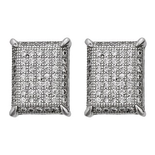 Decadence Sterling Silver Micropave Rectangle Stud Earrings