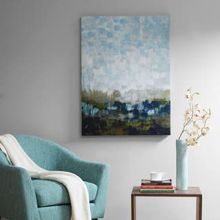 Madison Park Signature Abstract Land Multi Gel Coated Canvas - Blue