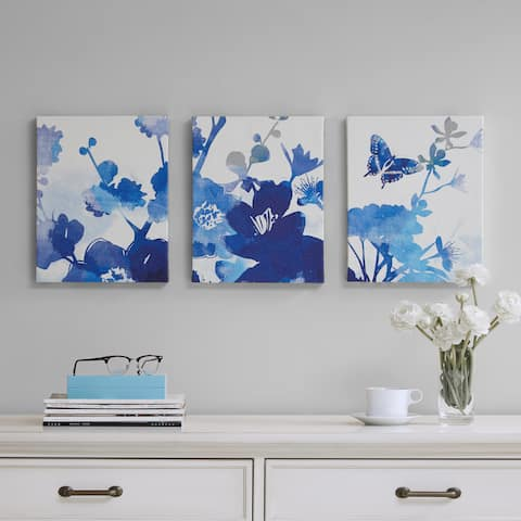 Madison Park Cobalt Garden Blue Gel Coated Canvas 3-Piece Set