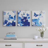 Madison Park Cobalt Garden Blue Gel Coated Canvas 3-Piece Set