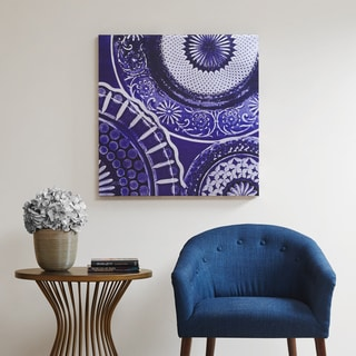 Now Madison Park Indigo Mandala Blue Metallic Canvas