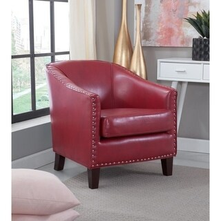 Giles Accent Chair with Nail Heads - Red Faux Leather