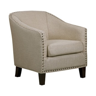 White Linen Brushed Brass Nail Barrel Chair