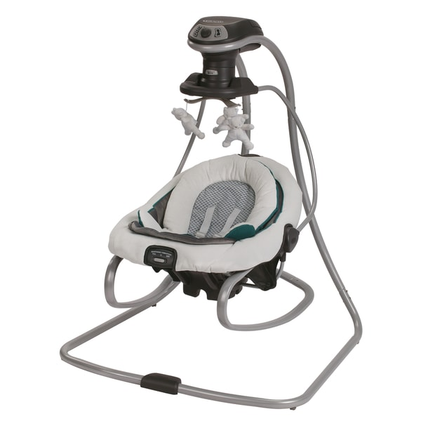 Shop Graco Duetsoothe Green Grey And White Plastic Swing