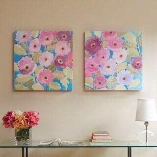 Madison Park Bright Florals Multi Hand Embellished Canvas 2-Piece Set