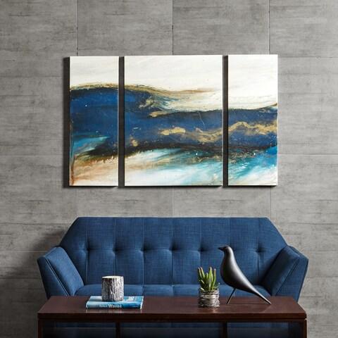 INK + IVY Rolling Waves Blue Gel Coated Canvas Set Of 3