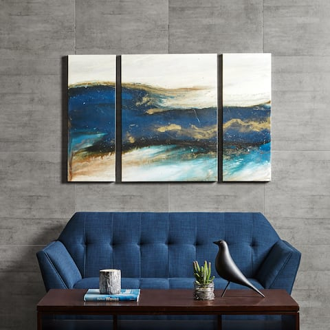 Carson Carrington Rezekne Waves Blue Gel Coated Canvas Set