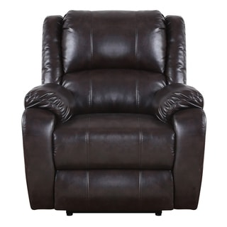 Plush Bonded Leather Power Electric Reclining Living Room Chair - Brown