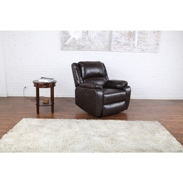 Plush Bonded Leather Power Electric Reclining Living Room Chair Brown Free Shipping Today