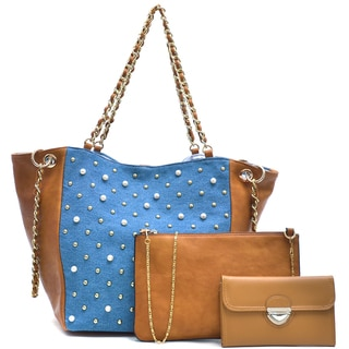 Dasein Denim Chain Link Tote Bag & Faux Leather Wallet with Buckle Snap Closure