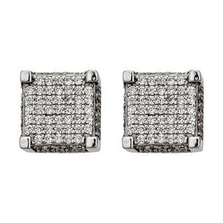 Decadence Sterling Silver Micropave 3D Square Stud Earrings