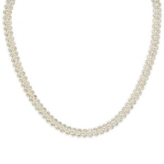 Finesque Gold Or Silver Overlay 1/10 ct TDW Diamond Three Row Necklace https://ak1.ostkcdn.com/images/products/11907969/P18800521.jpg?impolicy=medium