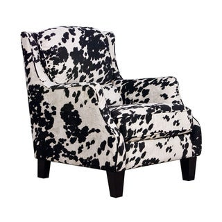 Black/White Microfiber/Pine/Foam Cow Club Chair