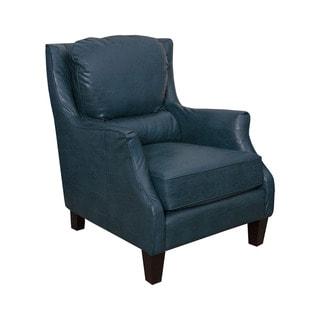 San Lorenzo Peacock Blue Faux Leather Club Chair