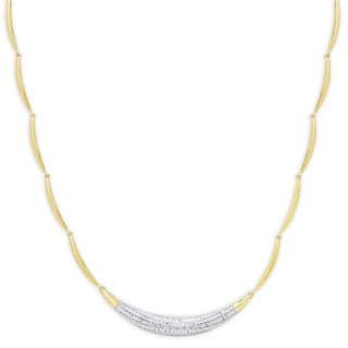 Finesque Gold Overlay 1/10 Ct TDW Pave Diamond Bar Necklace