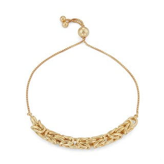 Gioelli Goldplated Sterling Silver Adjustable Byzantine Chain Bracelet