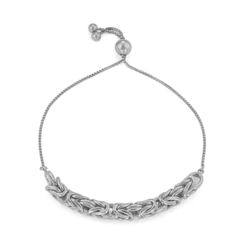 Gioelli Sterling Silver Byzantine Adjustable Chain Bracelet