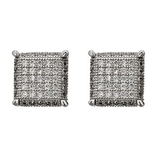 Decadence Sterling Silver Micropave Square 3D Stud Earrings