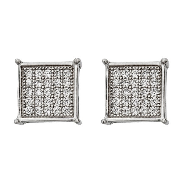 Decadence Sterling Silver Micropave 5x5 Square Men's Stud Earrings