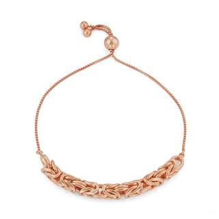 Gioelli 14k Rose Gold Plated Silver Adjustable Byzantine Chain Bracelet