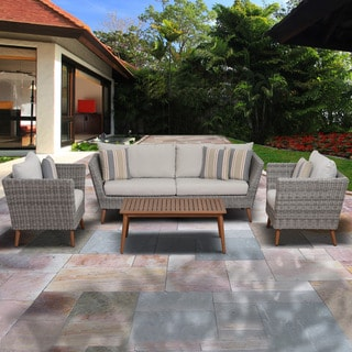 Amazonia Malta 4 Piece Eucalyptus Light-Grey Patio Conversation Set,