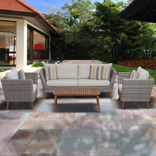 Clay Alder Home Barclay 4-piece Eucalyptus Light-Grey Patio Conversation Set,