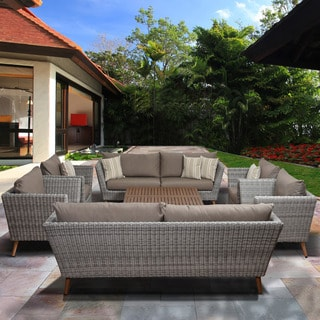Amazonia Malta 8 Piece Eucalyptus Brown Patio Conversation Set