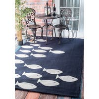 nuLOOM Handmade Modern Fish Indoor/ Outdoor Navy Rug - 4' x 6'