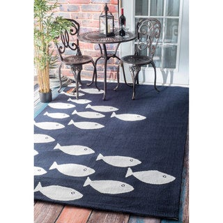 nuLOOM Handmade Modern Fish Indoor/ Outdoor Navy Rug (4' x 6')