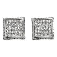 Decadence Sterling Silver Fancy Micropave Square Stud Earrings