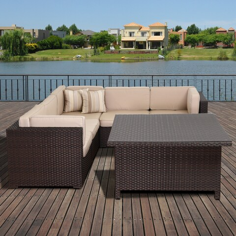 Atlantic Modena Sunbrella 7-Piece Brown Wicker Sectional Set