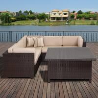 Atlantic Modena Sunbrella 7-Piece Brown Wicker Sectional Set