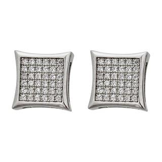 Decadence Sterling Silver Micropave Men's Hip Hop Stud Earrings