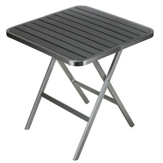 Cortesi Home Maxwell Outdoor Brushed Aluminum Polywood Square Folding Table
